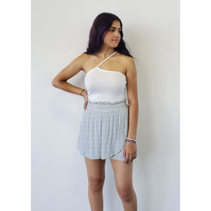 """Laurie"" One Strap RIbbed Tank - White"