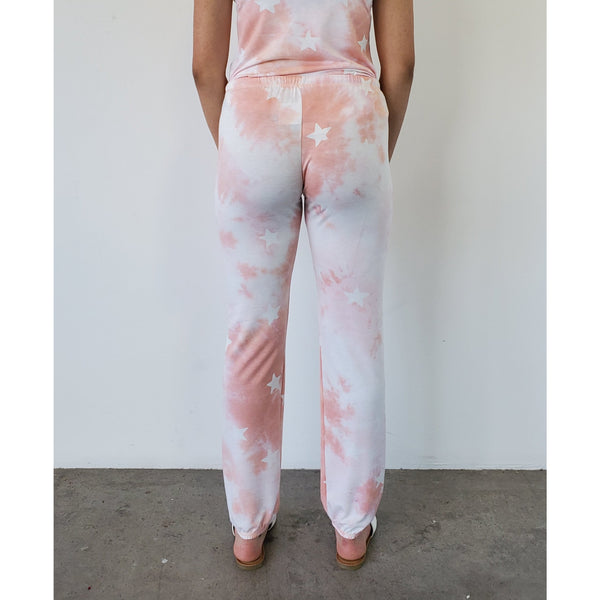 """Blush Babe"" Tie-dye Stars Sweatpants"