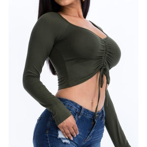 """Megan"" Ruched Front Crop Top (Olive)"