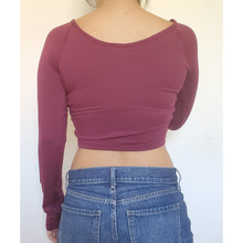 "Load image into Gallery viewer, ""Megan"" Ruched Front Crop Top (Burgundy)"