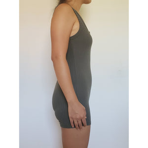 """Mackenzie"" Stretchy Fitted Romper (Olive)"