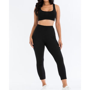 """Safer At Home"" Soft Ribbed Bra & Long Johns Set - Black"