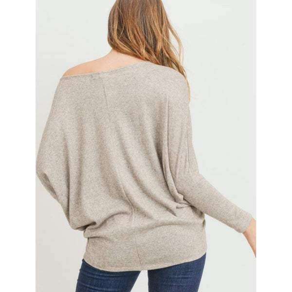 """Loah"" Boatneck Dolman Sleeved Knit Top"