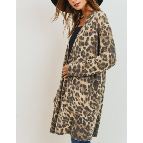"""Sofie"" Soft Leopard Open Cardigan"