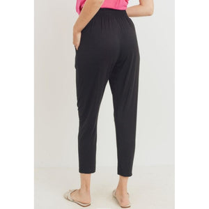 """Tara"" Black Jersey Stretch Trousers"