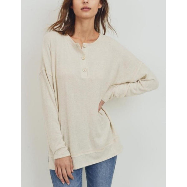 """Dream On"" Soft Brushed Henley Top"