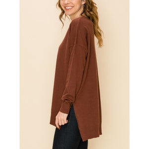 """Take Me Home"" V-neck Sweater - Chocolate"