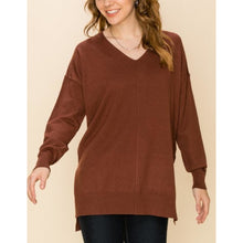 "Load image into Gallery viewer, ""Take Me Home"" V-neck Sweater - Chocolate"