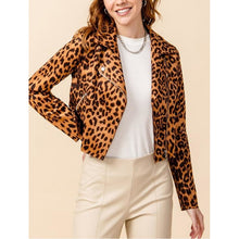 "Load image into Gallery viewer, ""Adrian"" Leopard Printed Faux Suede Biker Jacket (Brown)"