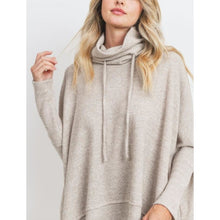 "Load image into Gallery viewer, ""Swing Me Around"" Brushed Thermal Knit Drawstring Neck Sweater"