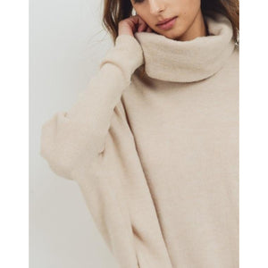 """Cuddler"" Brushed Knit Relaxed Fit Wide Turtle-Neck - Oatmeal"