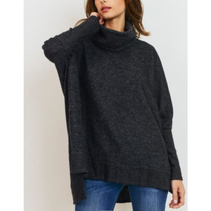 """Cuddler"" Brushed Knit Relaxed Fit Wide Turtle-Neck - Charcoal"