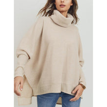 "Load image into Gallery viewer, ""Cuddler"" Brushed Knit Relaxed Fit Wide Turtle-Neck - Oatmeal"