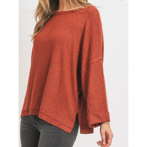 """Molly"" Brushed Rib Boxy Knit Top - Rust"