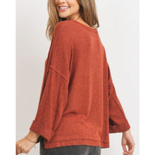 "Load image into Gallery viewer, ""Molly"" Brushed Rib Boxy Knit Top - Rust"