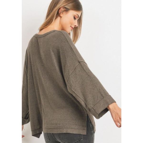 """Molly"" Brushed Rib Boxy Knit Top - Olive"