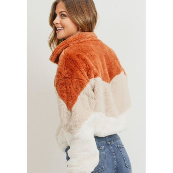"""Amanda"" Faux Fur Chevron Jacket"
