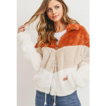 "Load image into Gallery viewer, ""Amanda"" Faux Fur Chevron Jacket"