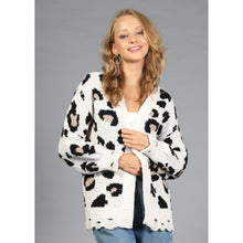 "Load image into Gallery viewer, ""Kelly"" Leopard Distressed Open Cardigan"