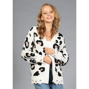 """Kelly"" Leopard Distressed Open Cardigan"