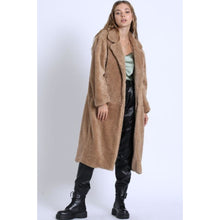 "Load image into Gallery viewer, ""City Girl"" Long Teddy Coat - Taupe"