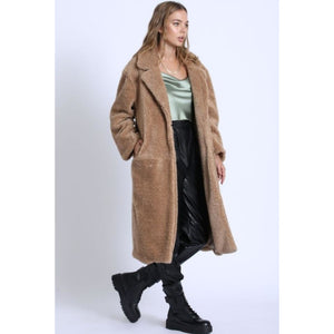 """City Girl"" Long Teddy Coat - Taupe"