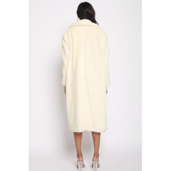 """City Girl"" Long Teddy Coat - Cream"