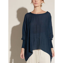 "Load image into Gallery viewer, ""Emory"" Smocked Sleeve Blouse -  Midnight"