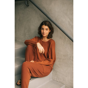 """Carefree"" Relaxed Fit Ribbed Sweater - Sienna"