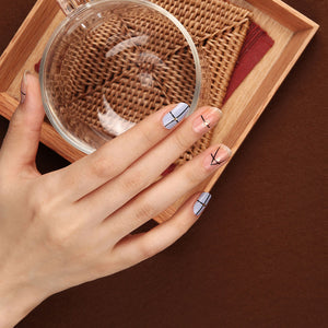 Gel Nail Stickers - Simple Lines (Sky)