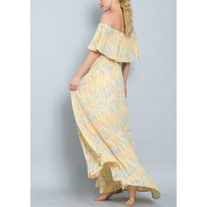 """Island Babe"" Printed Off-Shoulder Maxi Dress"