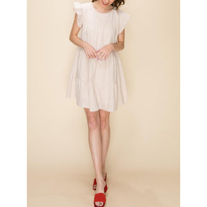 """Daphne"" Cotton Tiered Dress - Cream"