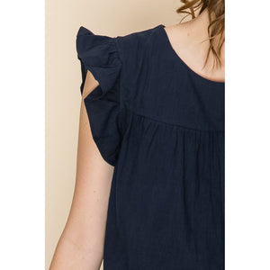 """Daphne"" Cotton Tiered Dress - Navy"