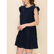"Load image into Gallery viewer, ""Daphne"" Cotton Tiered Dress - Navy"