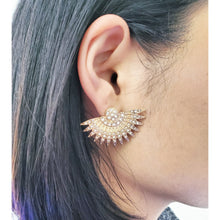 Load image into Gallery viewer, Gold Sparkle Fan Earrings