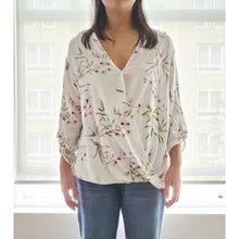"Load image into Gallery viewer, ""Gardening at Home"" Floral Faux Wrap Blouse"