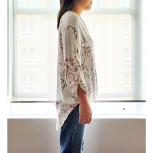 """Gardening at Home"" Floral Faux Wrap Blouse"