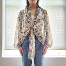 "Load image into Gallery viewer, ""Breezy Days"" Sage Floral Tie-front Cover-up"