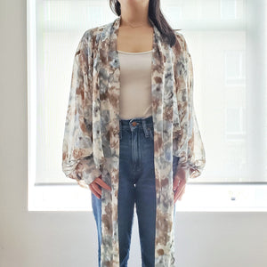 """Breezy Days"" Sage Floral Tie-front Cover-up"