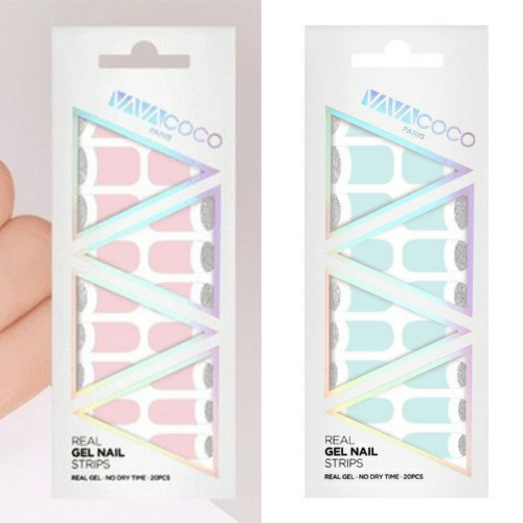 Gel Nail Stickers - Pastel Deep French (Pink/Sky)