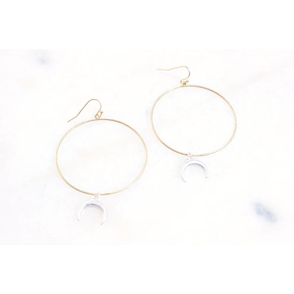 Gold Moon Hoop Earrings