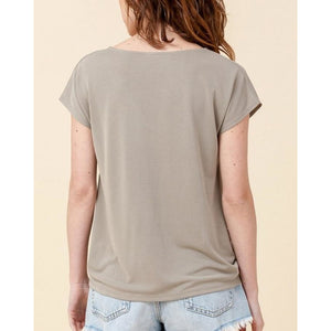 """Keira"" V-neck Twist-Front Modal Top"