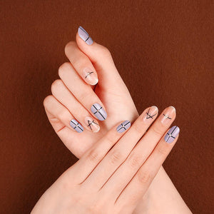 Gel Nail Stickers - Simple Lines (Lilac)