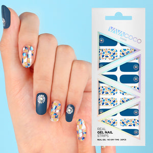 Gel Nail Stickers - Mosaic (Navy)