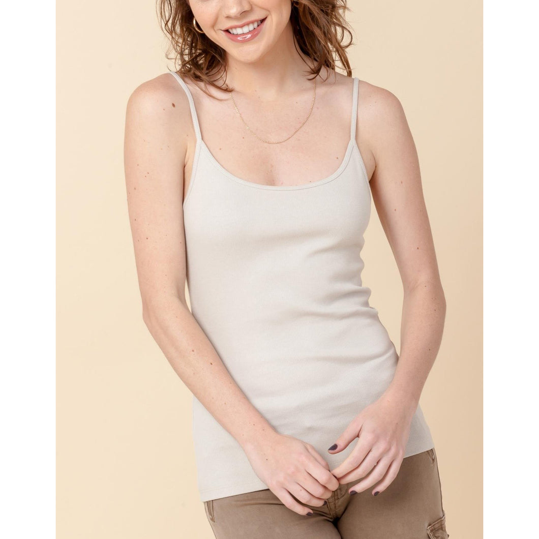Daily Ribbed Basic Tank - Beige