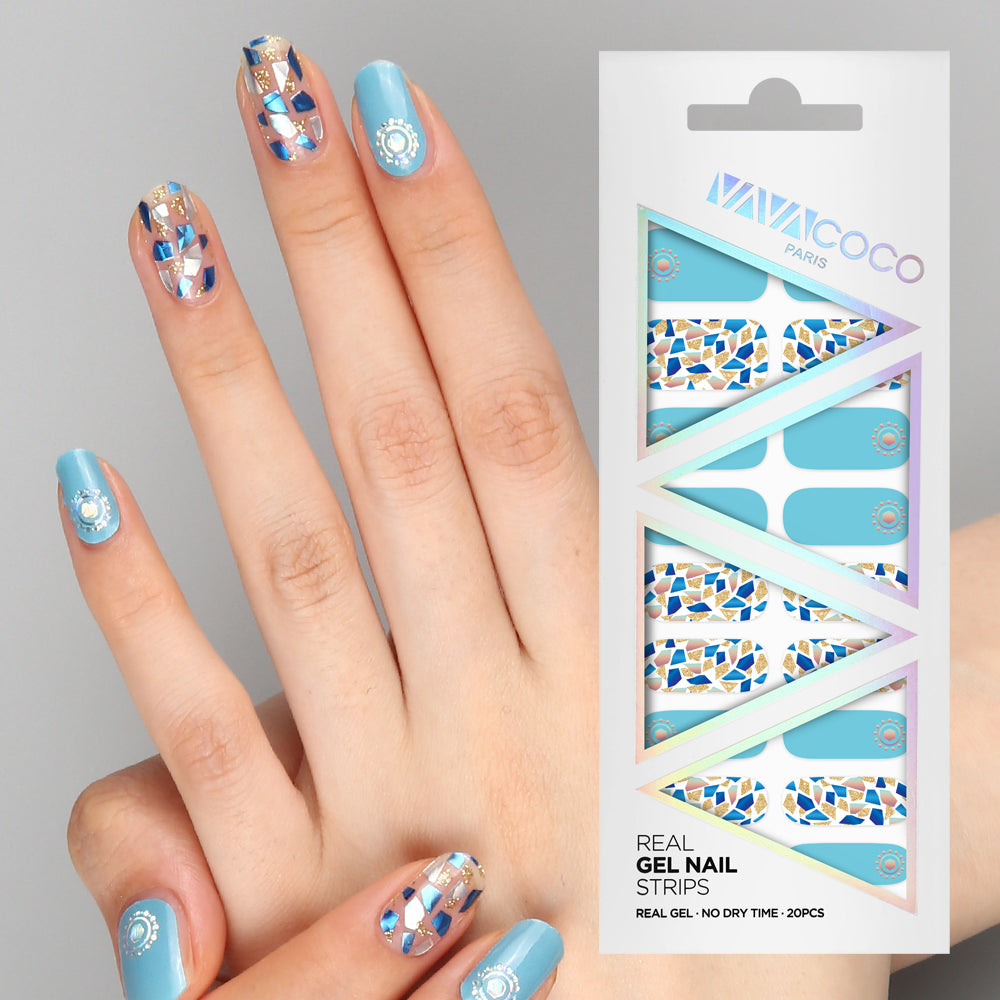 Gel Nail Stickers - Mosaic (Sky Blue)