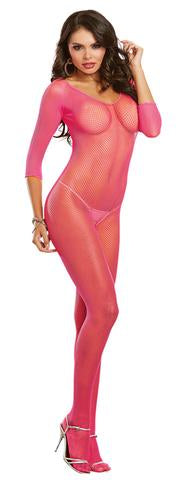 Dreamgirl Long-sleeved Fishnet Bodystocking One Size Fits Most 0015 - Neon Pink