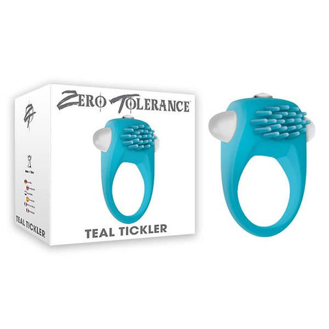 Zero Tolerance Teal Tickler Vibrating Cock Ring Battery Waterproof