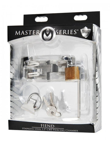 Master Series Fiend Stainless Steel CBT Piercing Chamber 1.5 in Ball Stretcher & Scrotum Torture Device