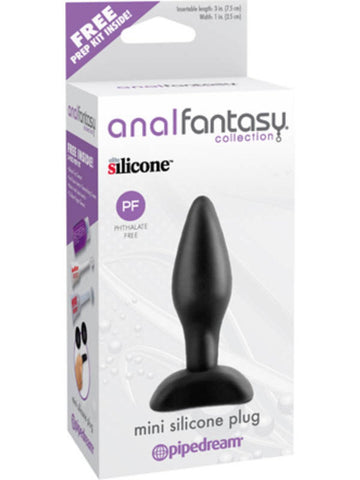 "Anal Fantasy Collection Mini Silicone Plug 3"" Insertable Length Black"